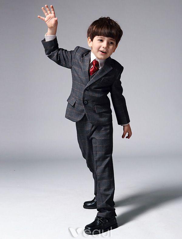 Garçons Costumes Gris Avec Cravate Rouge Les Costumes Pour Les Enfants De 4 Ensembles