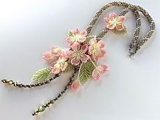 (97) 桜満開のビーズネックレス   BEADING-flowers