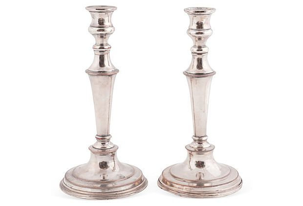 Silverplated Copper Candlesticks