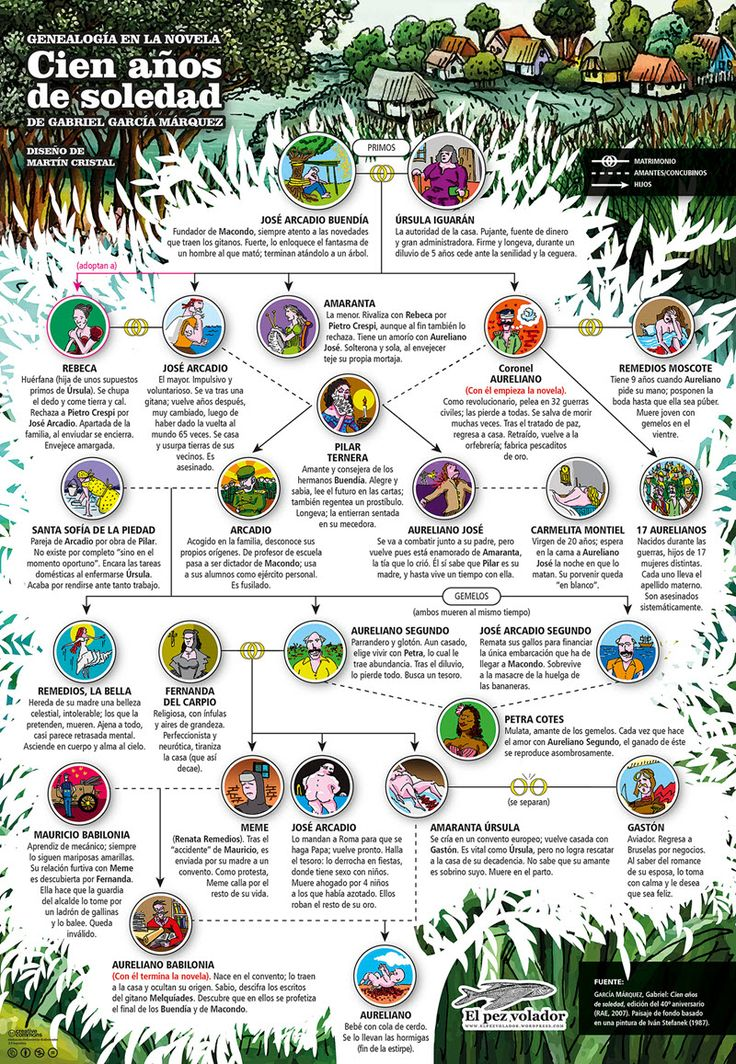 infografia cien anos de soledad por martin cristal