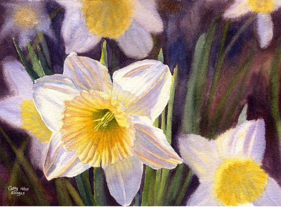 white daffodils art watercolor painting print by Cathy Hillegas, yellow, gold, orange, green, blue, purple, spring on Etsy, $20.00