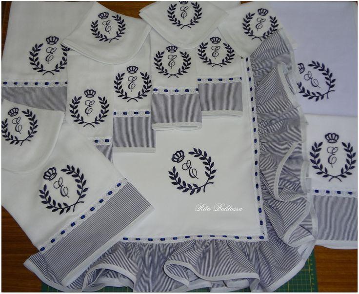 Kit Maternidade Brasão Coroa Marinho 13P | Fraldas e Mimos by Rita Baldassa | Elo7