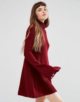 Rokoko - Vestito svasato in maglia con collo alto
