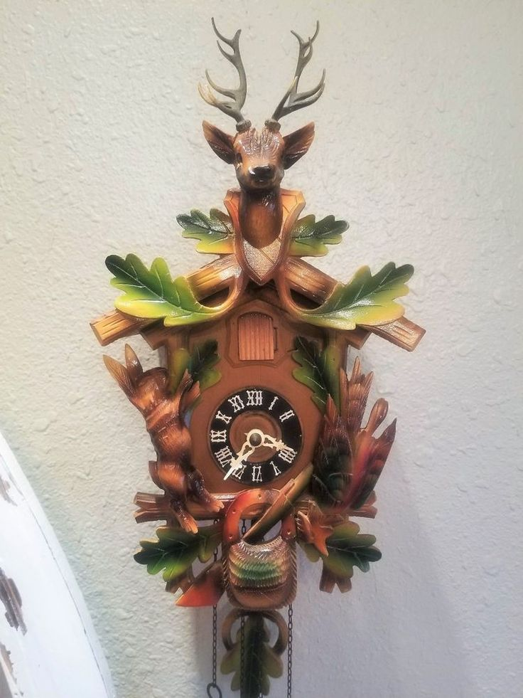 German Vtg Hunter STAG Game Rabbit Pheasant Rifle Cuckoo Clock Black Forest 15""