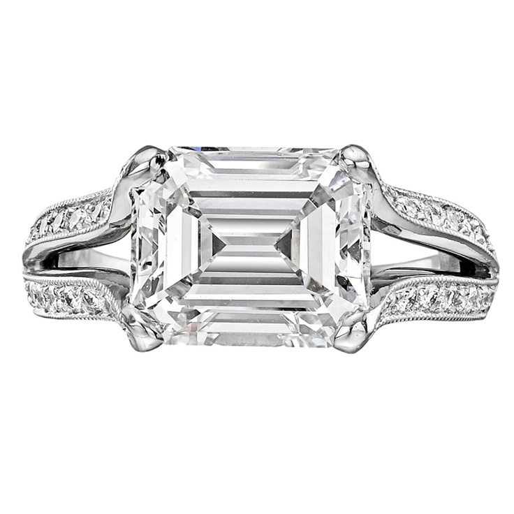 3.89 Carat Emerald-Cut Diamond Engagement Ring. I love the unusual setting of this beauty.