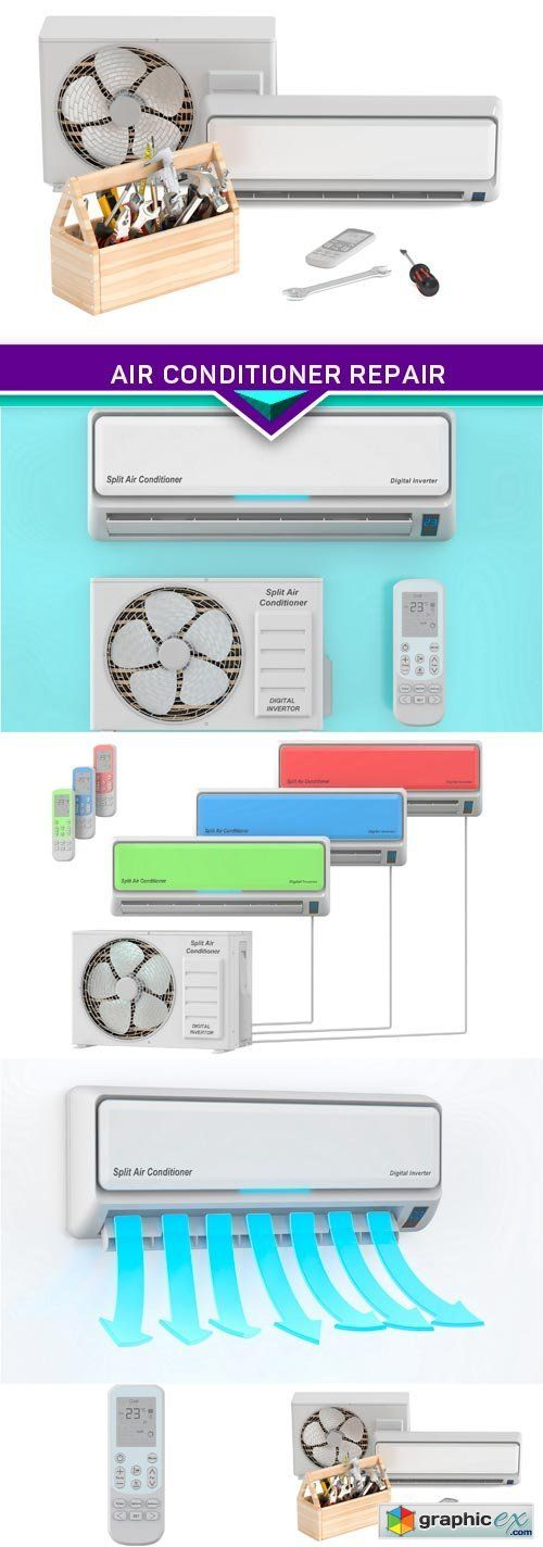 Air conditioner Repair and tech support concept 5X JPEG  stock images