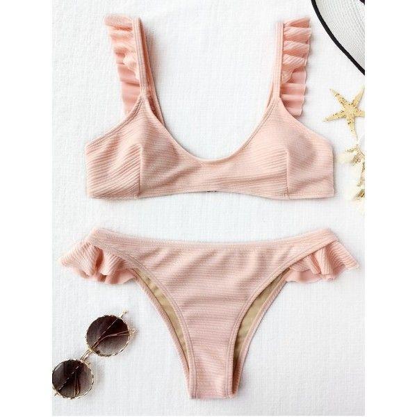Ribbed Texture Ruffles Bikini Set Shallow Pink ($16) ❤ liked on Polyvore featuring swimwear, bikinis, pink bikini, bikini swim wear, frill bikini, bikini beachwear and frilly bikini