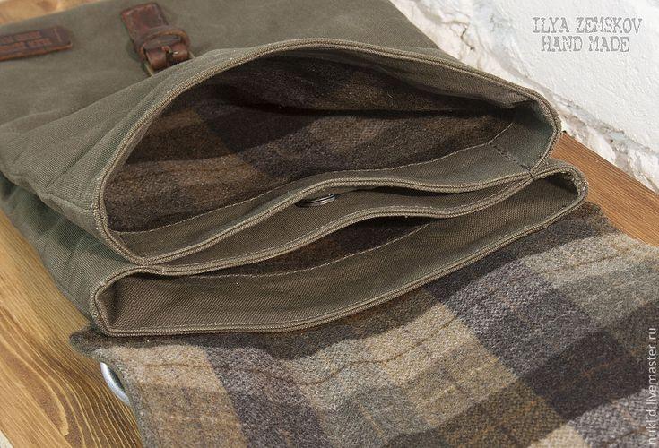 Купить Сумка AMMO для планшета. - сумка для планшета, сумка ammo, натуральная кожа, шотландка, для планшета