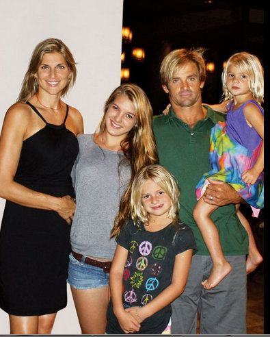 Retired U.S. Beach Volleyball player Gabrielle Reece with husband professional surfer Laird Hamilton and daughters: Izabela Hamilton, Reece Viola Hamilton (b. 2003) Brody Jo Hamilton (b. 2008)