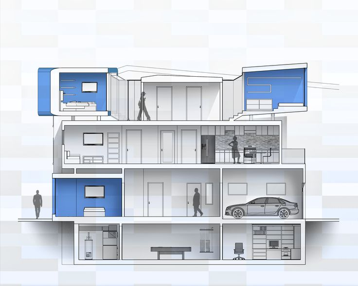 Section; Row Home; 2N Architectural Design; www.nikosnasis.com