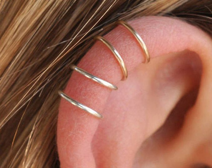 Set van 2 Ear manchetten, gouden oor manchet, geen Piercing, zilver, dubbele Ear Cuff, kraakbeen, eenvoudige Ear Cuff, nep kraakbeen oorbel, manchetten