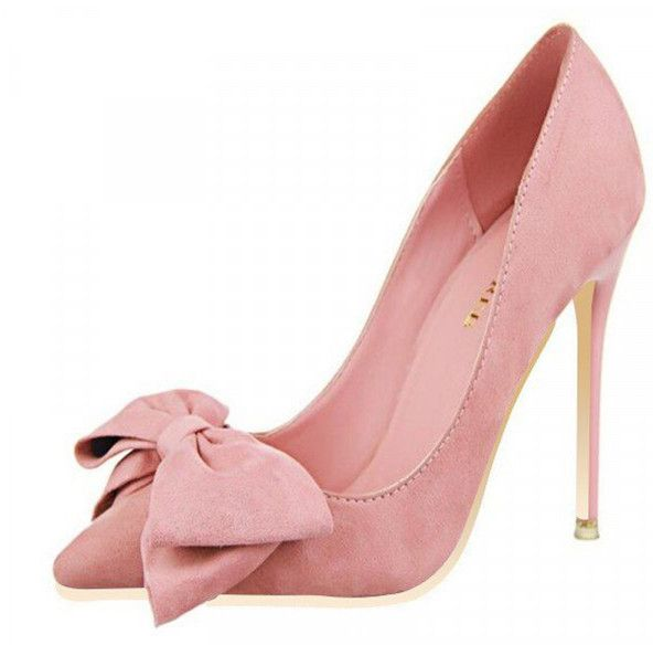 Pink Stiletto Heels Front Bow Suede