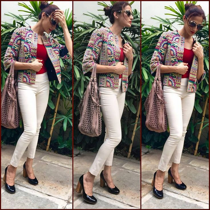 Designer Shilpa Reddy dressed in a Boho chic look for summer, wearing a fully embroidered Jacket with skinny pants and wooden block heels..  #fashiontrends #bohochic #bohostyle #shilpareddy #summerfashion #streetstyle #fashionblogger #instafashion #instastyle #candid