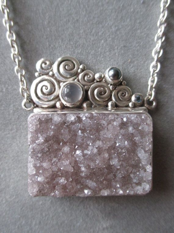One of a Kind Sterling Silver Druzy Pendant