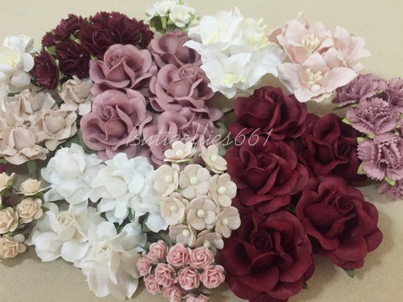 Whole Sale Set Of Mixed Burgundy Pink 120 Flowers Mixed Flowers