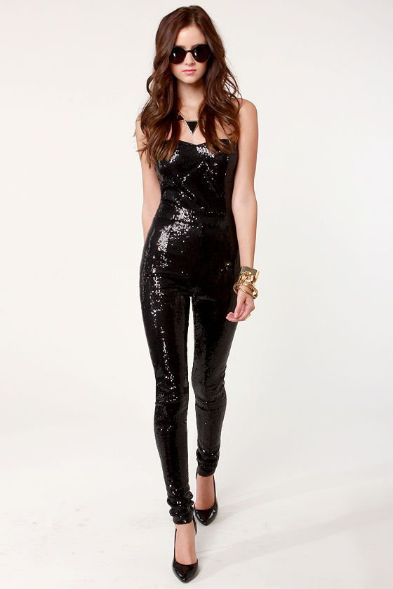 Sexy Black Jumpsuit - Sequin Jumpsuit - Strapless Jumpsuit - $95.00.....Id soooo rock this!  sexy!