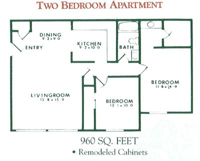 2 bedroom 1 bath and 2 bedroom 2 bath apartment floor for Two bedroom two bath apartment floor plans