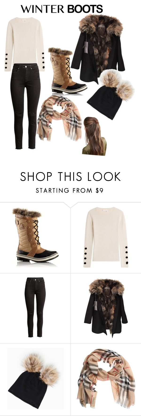 """winter"" by spencer-stacy ❤ liked on Polyvore featuring SOREL, See by Chloé, Yves Salomon, Burberry and DesignB London"
