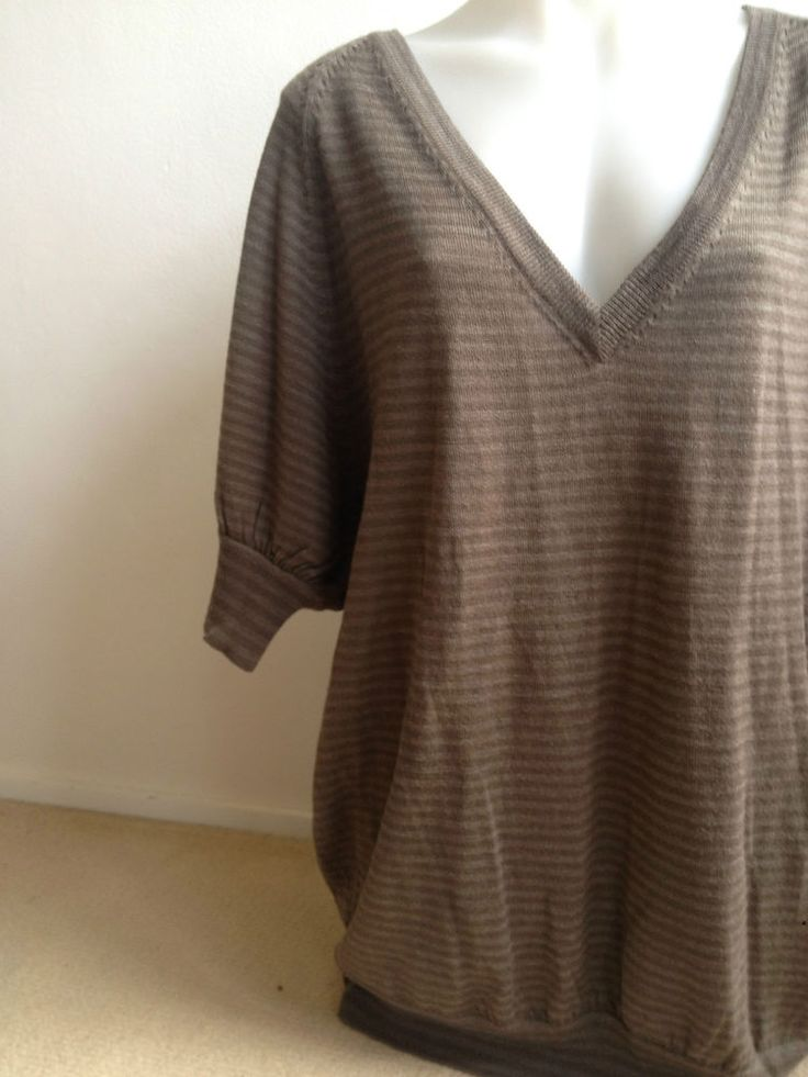 Ladies FCUK Wool Striped Mocha Long Top, Med - Now selling! Click through to go to eBay auction.