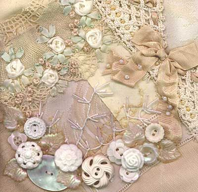 Crazy quilt embellishment with Silk Ribbon - pintangle.com.  Awesomeness!