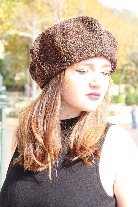 2222099a5935d Tartan beret. Orange and brown tweed hat. Slouchy french beret. Womans  fabric hat. Unique hat. Wool tweed fabric hat. Woolen hat.