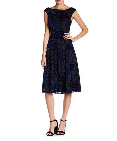 7bfd3845a3 Look at this  zulilyfind! Blue   Black Lace-Overlay Midi Dress ...