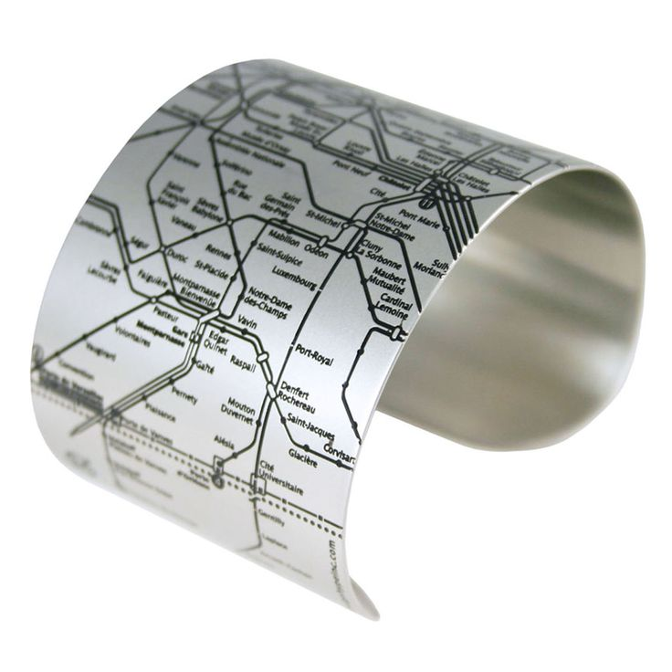 This cuff features the lines, streets, and numbers of the Paris Métro.