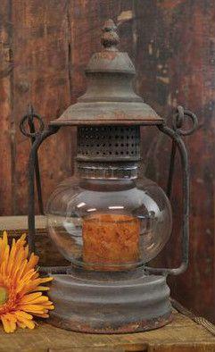 Primitive Antiqued Beautiful Candle Holder Lantern 11 5 Rustic Country Farm Barn | eBay