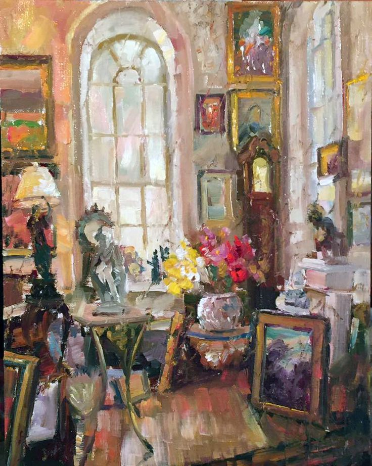 "Janet Greco,  ""The Antique Shop"" From a shop in Charleston, South Carolina. Taken with iPhone. 14"" x 11"" oil"