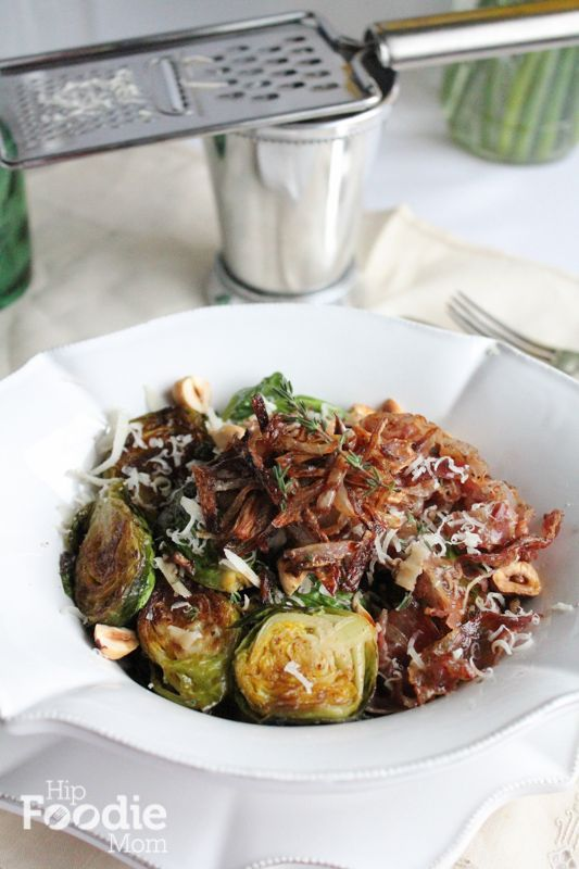 A great Easter side dish. Brown Butter Brussels Sprouts with Pancetta and Crispy Shallots from hipfoodiemom.com