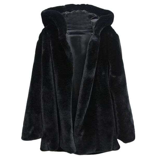 Hooked Md-long Black Faux Fur Coat With Hood ($84) ❤ liked on Polyvore featuring outerwear, coats, jackets, coats & jackets, hooded coat, imitation fur coats, long fake fur coat, long coat and long length coats