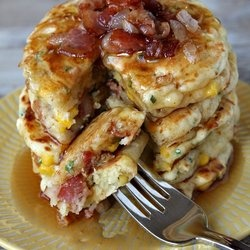 Bacon and Corn Griddle Cakes - Ingredients: Jiffy corn bread mix, 1/2 cup bacon (cooked and crumbled), 1 can corn, 1/2 cup shredded cheese. Mix corn bread mix as instructed, mix in all other ingredients. Cook on medium on griddle until brown, flip and brown. DONE!