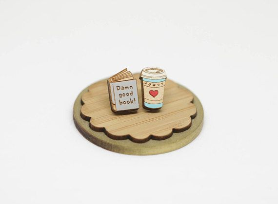 This cute book and coffee stud earrings are laser cut and engraved on 1/8 maple plywood.   I laser cut and hand painted and sealed with two coats of satin wood finish carefully! And findings are silver-plated surgical steel.  It measures approx. book--------------- 3/8 x 1/2  coffee
