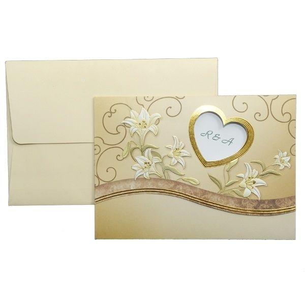 Invitatie de nunta romantica, ce culoare crem si auriu, cu design floral si chenar inima.