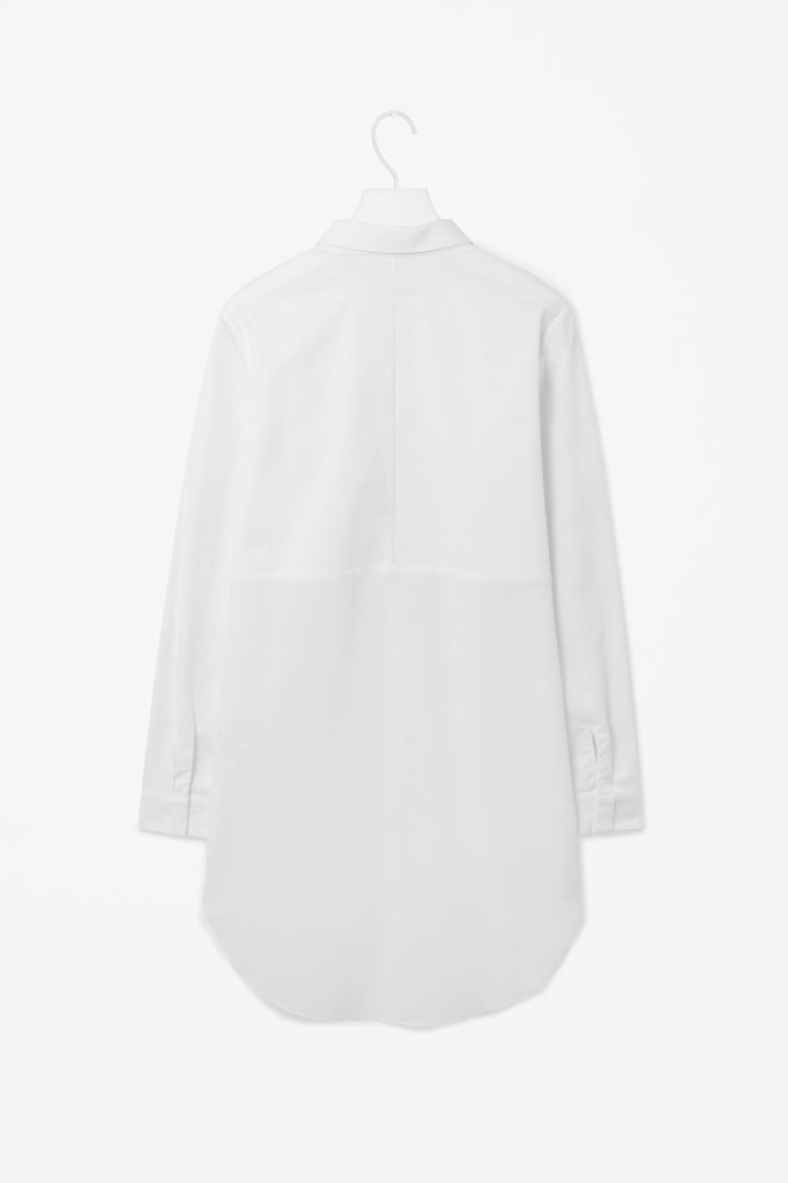 COS image 3 of Silk panel shirt dress in White
