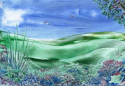 peaceful hills encaustic art painting one of mine
