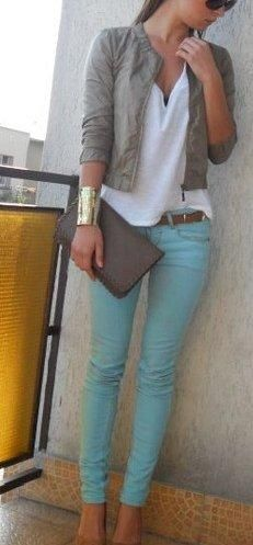 Gray leather jacket paired with colored pants