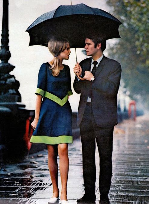 Mary Quant fashion 1966  model Patti Boyd and actor Tom Courtenay. Photo by  by John Cowen