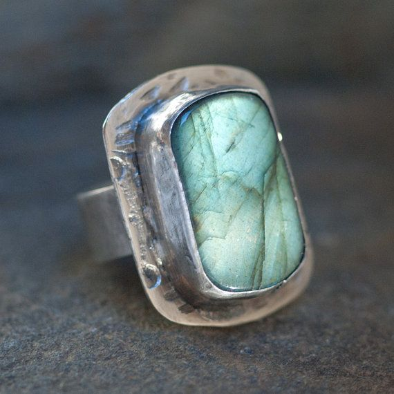 "Wendy Wetherbee  |  ""Lightning Storm"" huge, chunky Labradorite & recycled sterling silver ring."