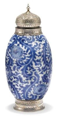 BLUE-AND-WHITE SILVER-MOUNTED VASE  CHINA FOR THE ISLAMIC MARKET, KANGXI PERIOD, LATE 17TH/EARLY 18TH CENTURY Of ovoid shape, with dense floral decoration, intact  8¼in. (21cm.) high