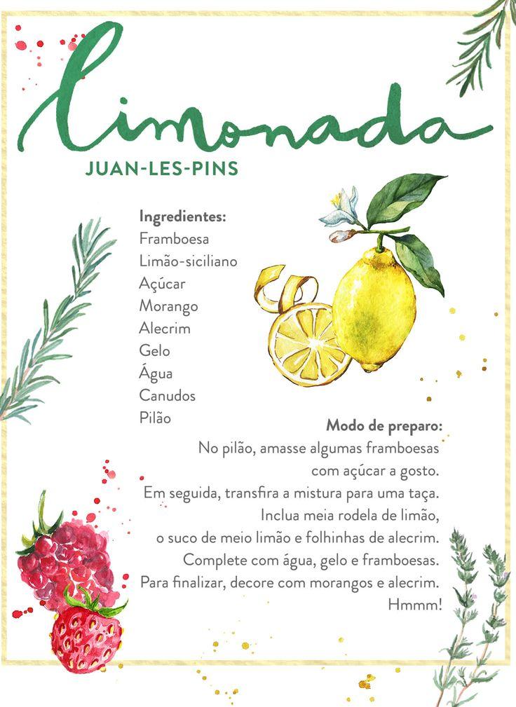 O Westwing traz receitas de limonadas diferentes, como a Grasse - que leva framboesa, morango e alecrim na preparação.