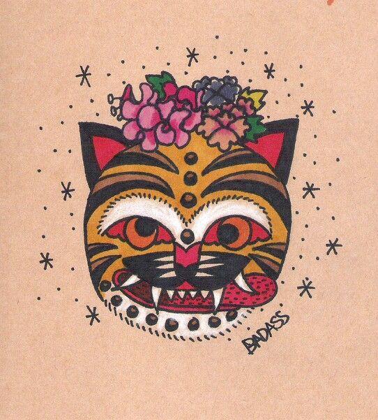 민화타투 korean folk art style tiger  Badass Tattoo seoul in korea