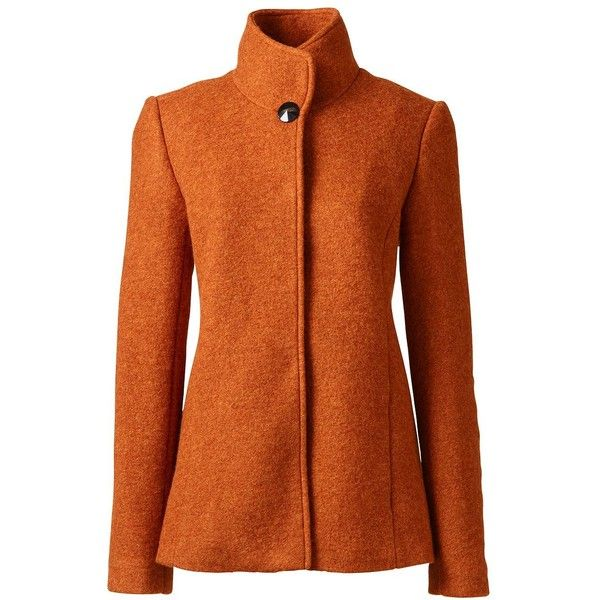 Lands' End Women's Petite Textured Wool Jacket ($139) ❤ liked on Polyvore featuring outerwear, jackets, orange, wool jacket, orange jacket, woolen jacket, lands end jackets and textured jacket