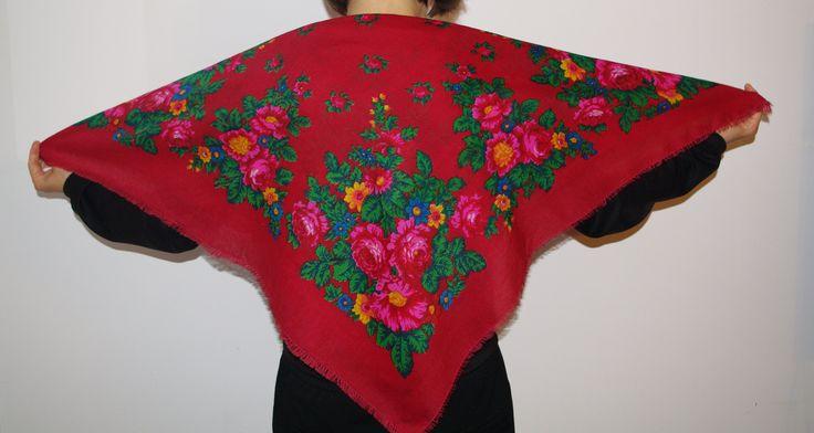 Vintage Dark red Scarf / Ukrainian Big Folk Shawl / Leaves Flowers Roses / Vintage Russian Floral headscarf light wool Babushka Polish shawl by VintagePolkaShop on Etsy