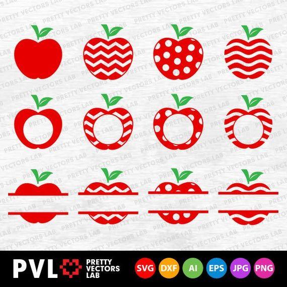 Apple Svg Apple Monograms Frames Svg Dxf Eps Chevron Apple Monogram Svg Teacher Svg School Svg Patterned Apples Svg Cricut Silhouette Monogram Frame Handmade Art Monogram