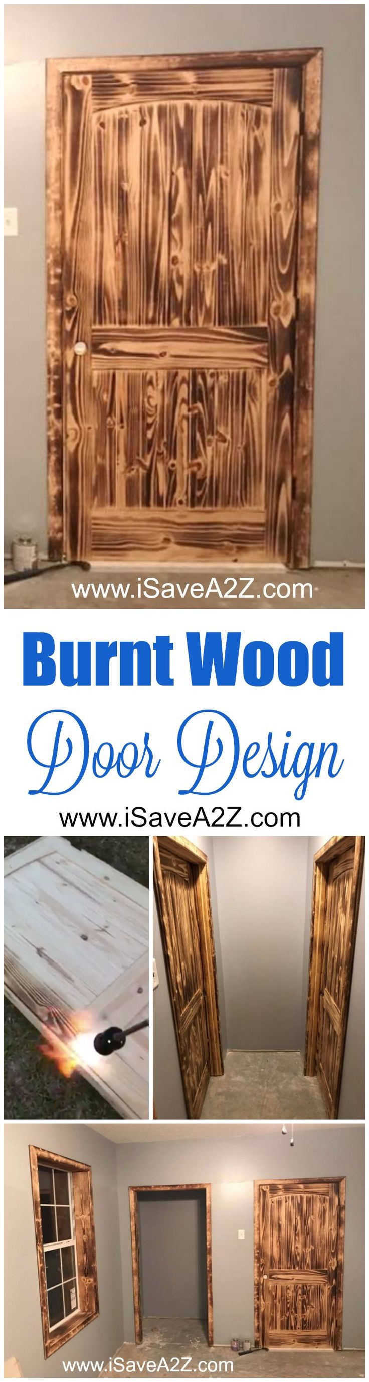 Absolutely STUNNING Burnt Wood Door design idea that I am in LOVE with!!