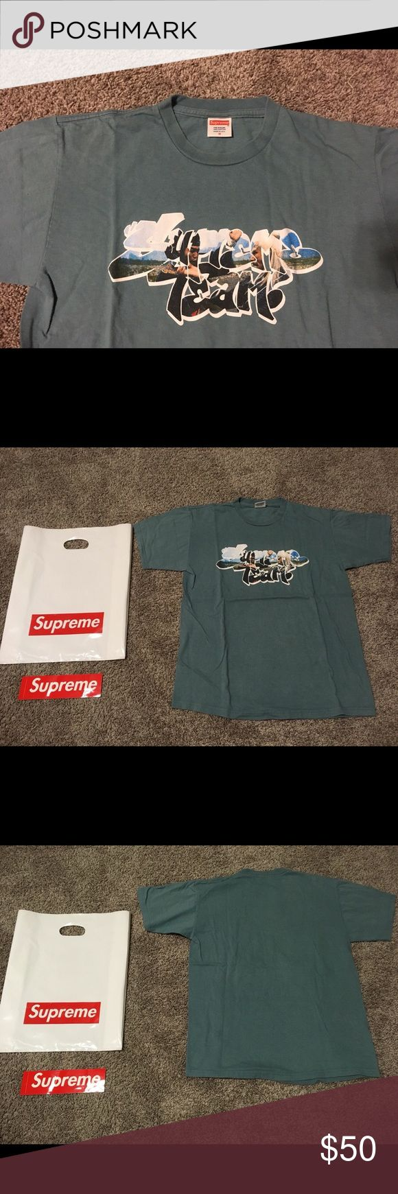 Supreme Tee It's used Supreme tee. I don't have any proof of authenticity but it's 100% authentic since I bought it from Supreme online shop. Supreme plastic bag and the sticker are included. Color is between blue and green. Condition is 7 out of 10. (10 is very good) Supreme Shirts Tees - Short Sleeve
