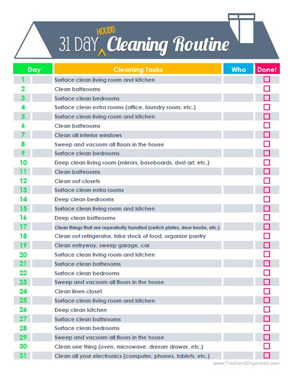 Instead of doing everything in one day, follow a schedule where, in addition to your typical household chores like doing the dishes, you do a 20-minute (the use of a timer is encouraged) cleaning task per day. The schedule has a list of rotating cleaning tasks to do, and by the end of 30 days, you start over on day 1 and by doing this, your house should be nice and clean.