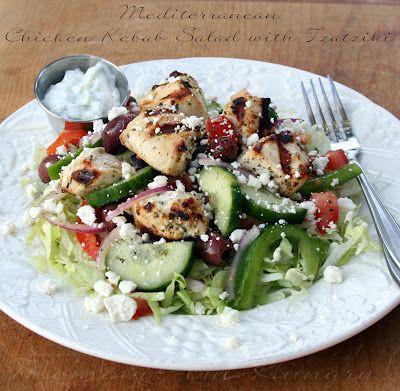 Mediterranean Chicken Kebab Salad with Homemade Tzatziki Sauce