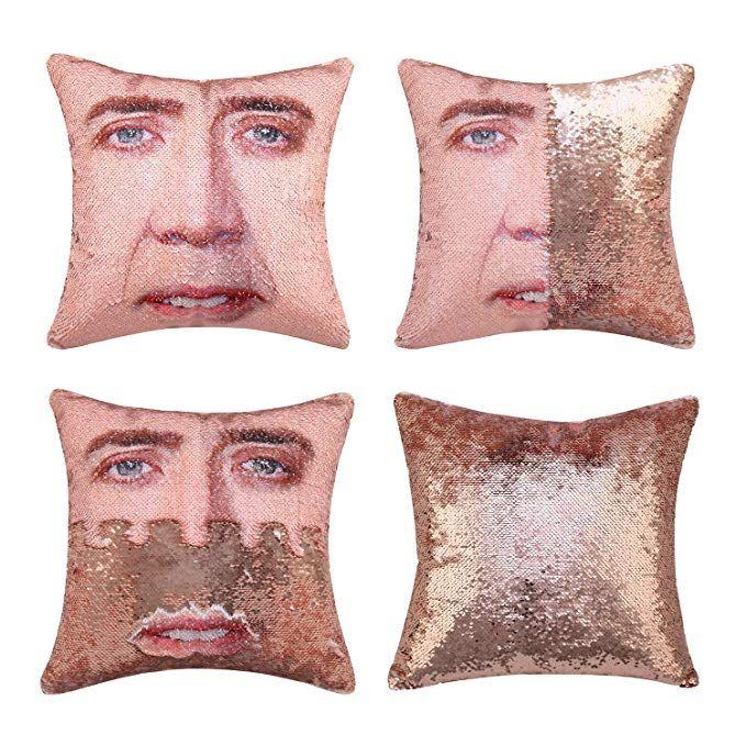 Jasen Magic Reversible Sequins Pillowcase Mermaid Nicolas Cage